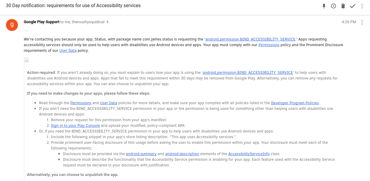 Google email regarding Android Accessibility service