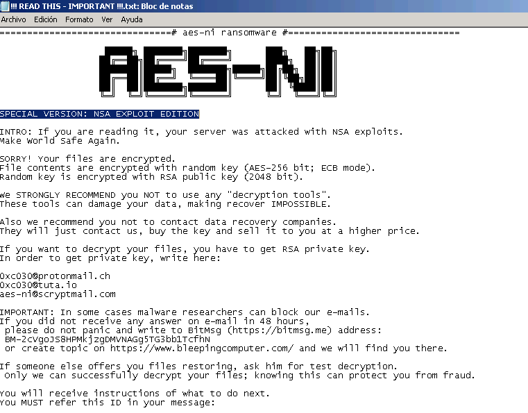 AES-NI ransom note