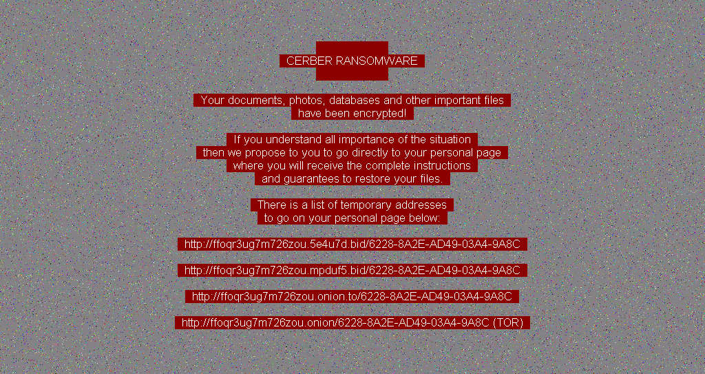 Ransom note shown by the Cerber ransomware spread via this spam campaign
