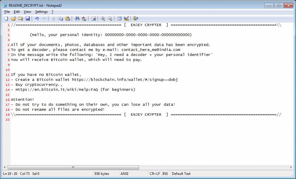 Enjey ransom note