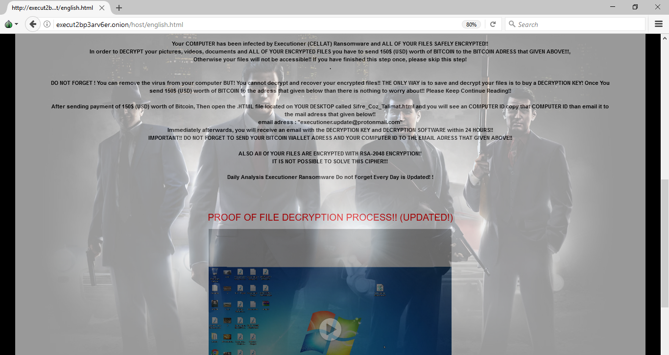 Executioner ransomware payment site
