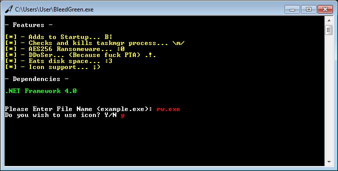 BleedGreen builder for FireCrypt ransomware