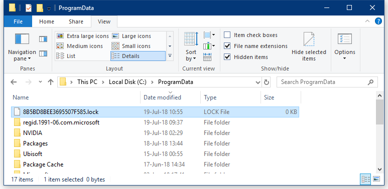 Lock file on a PC