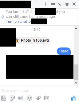 Facebook SVG spam message