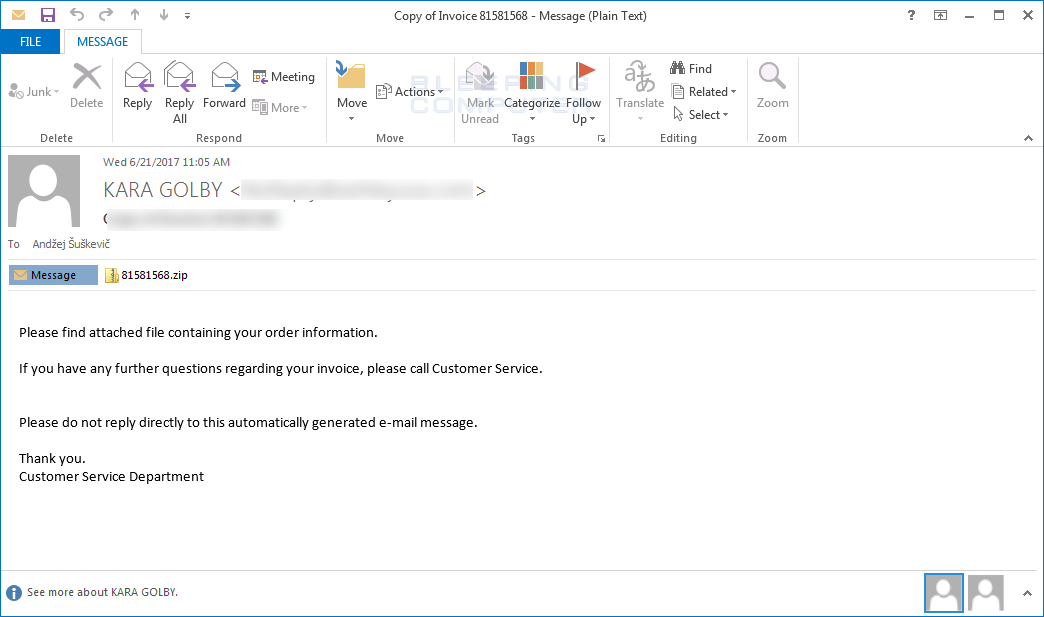 Emails spreading new Locky version