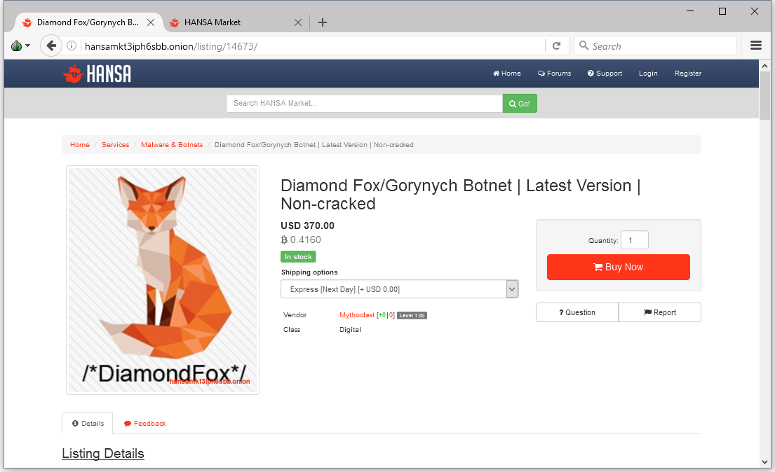 Ad on the Dark Web for the DiamondFox botnet malware