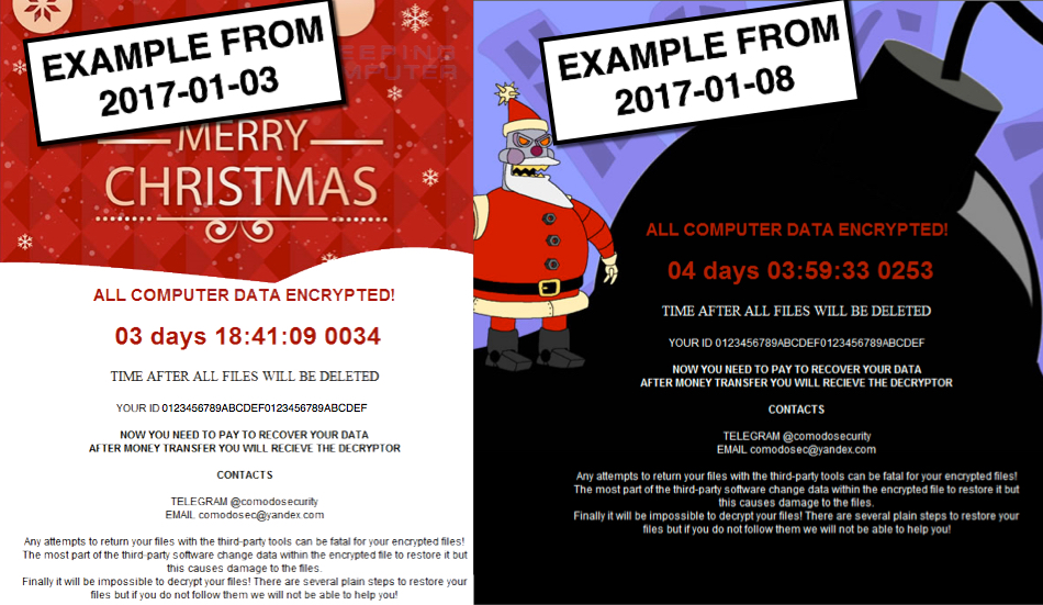 Differences in the ransom notes of the first two Merry Christmas ransomware infections