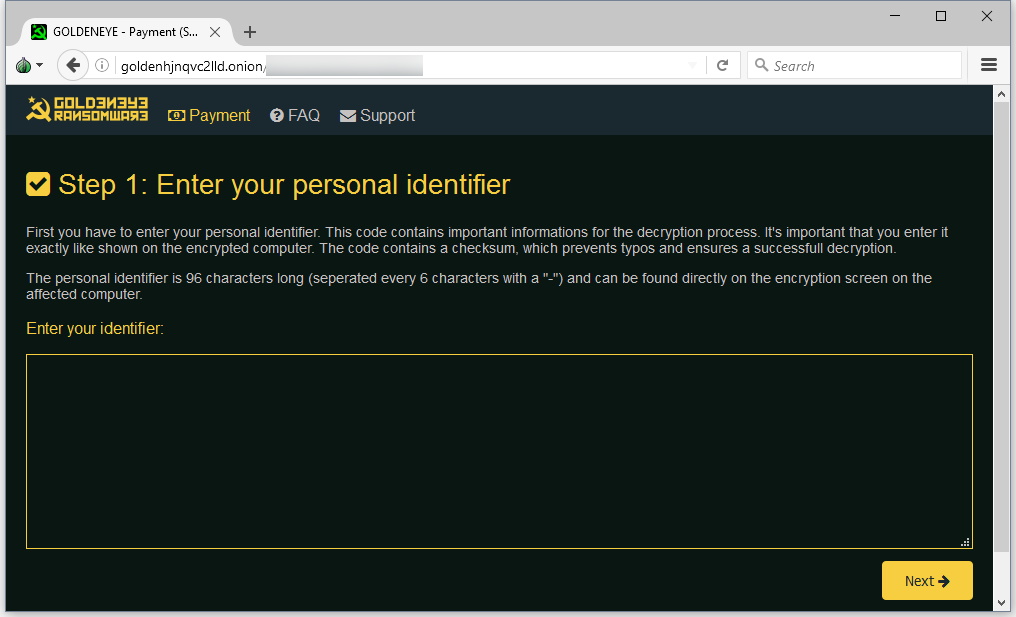 Petya Dark Web portal