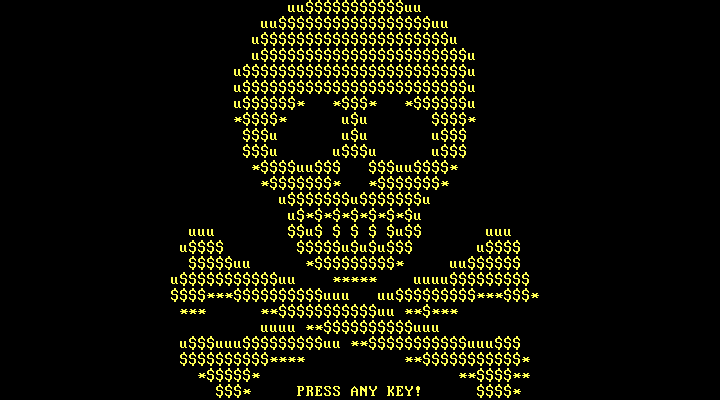 Petya boot level ransom note