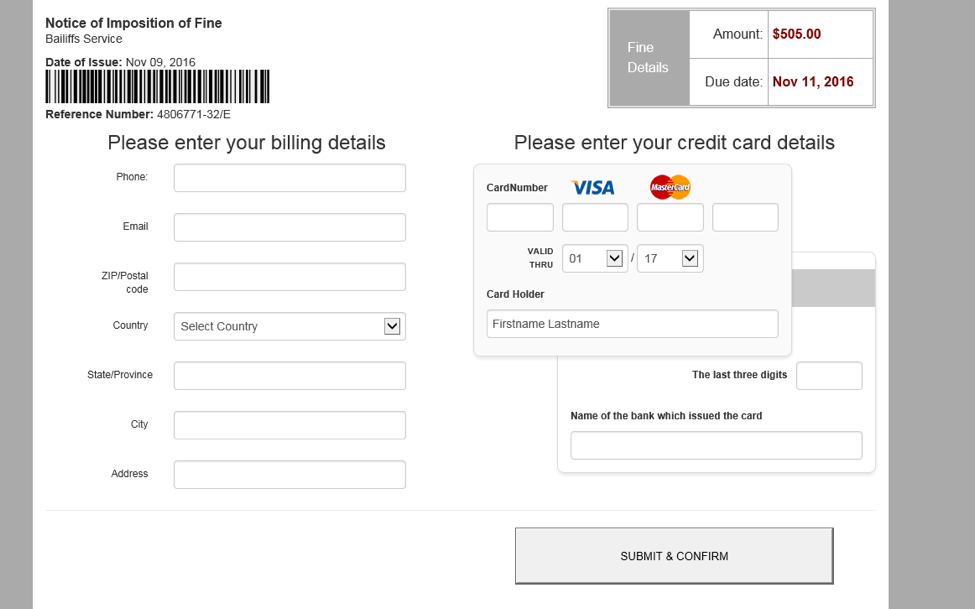 Ransoc credit card payment form
