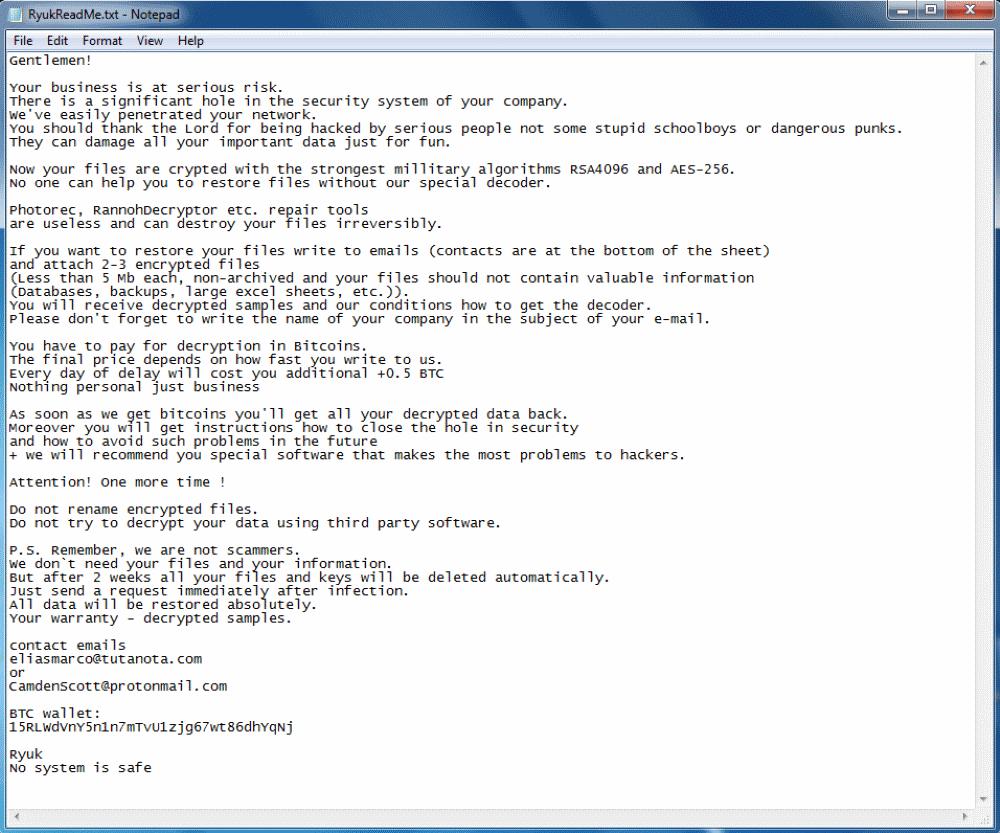 Larger Ryuk ransom note
