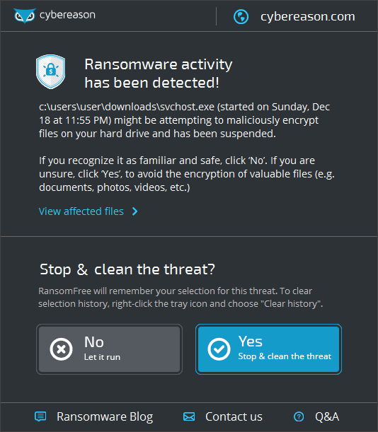 RansomFree stopping the Cerber ransomware