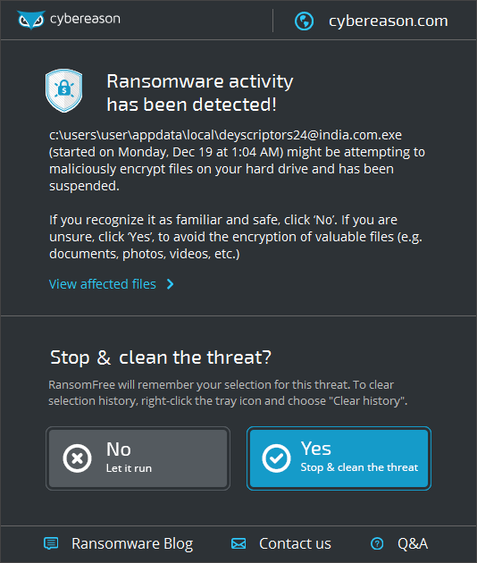 RansomFree stopping the Globe ransomware