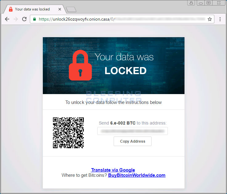 Unlock26 ransom payment site