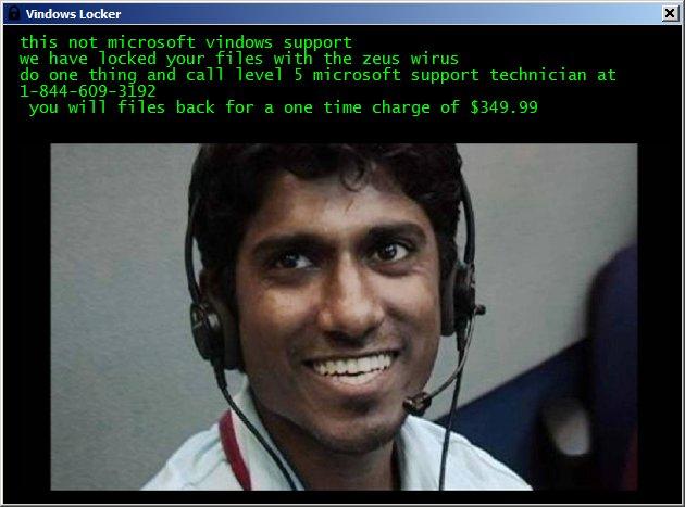 VindowsLocker ransom message