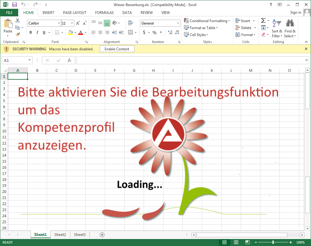Excel file included in GoldenEye spam campaign