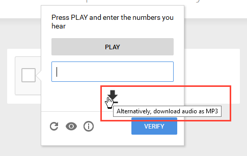 reCAPTCHA audio challenge download option
