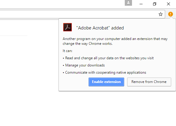 Adobe Reader extension added to Chrome
