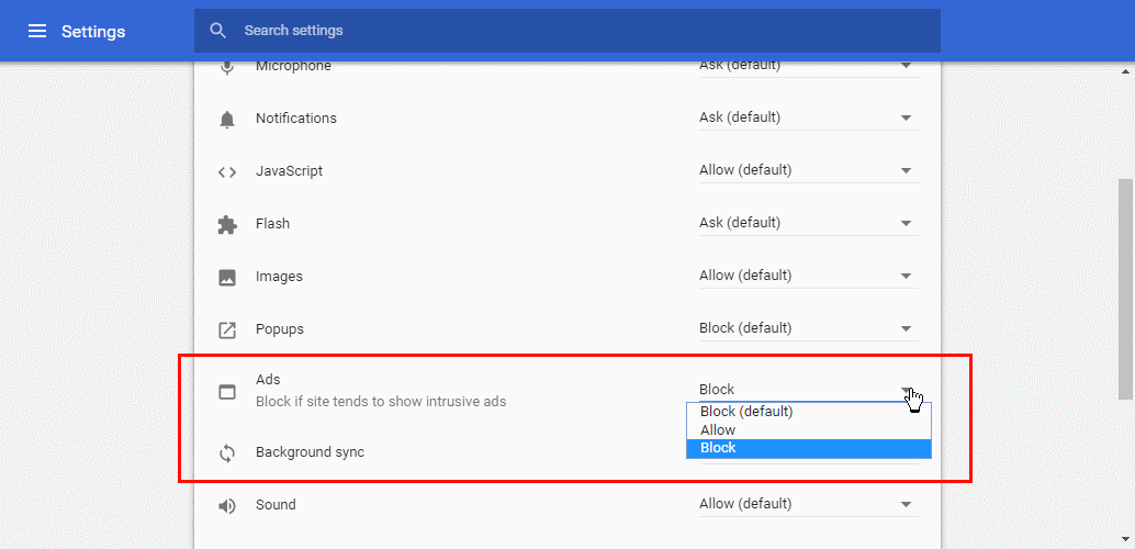 Google Chrome ad blocker settings