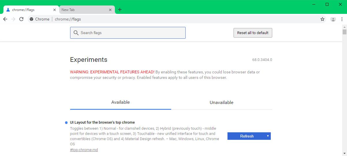 New Google Chrome Canary UI