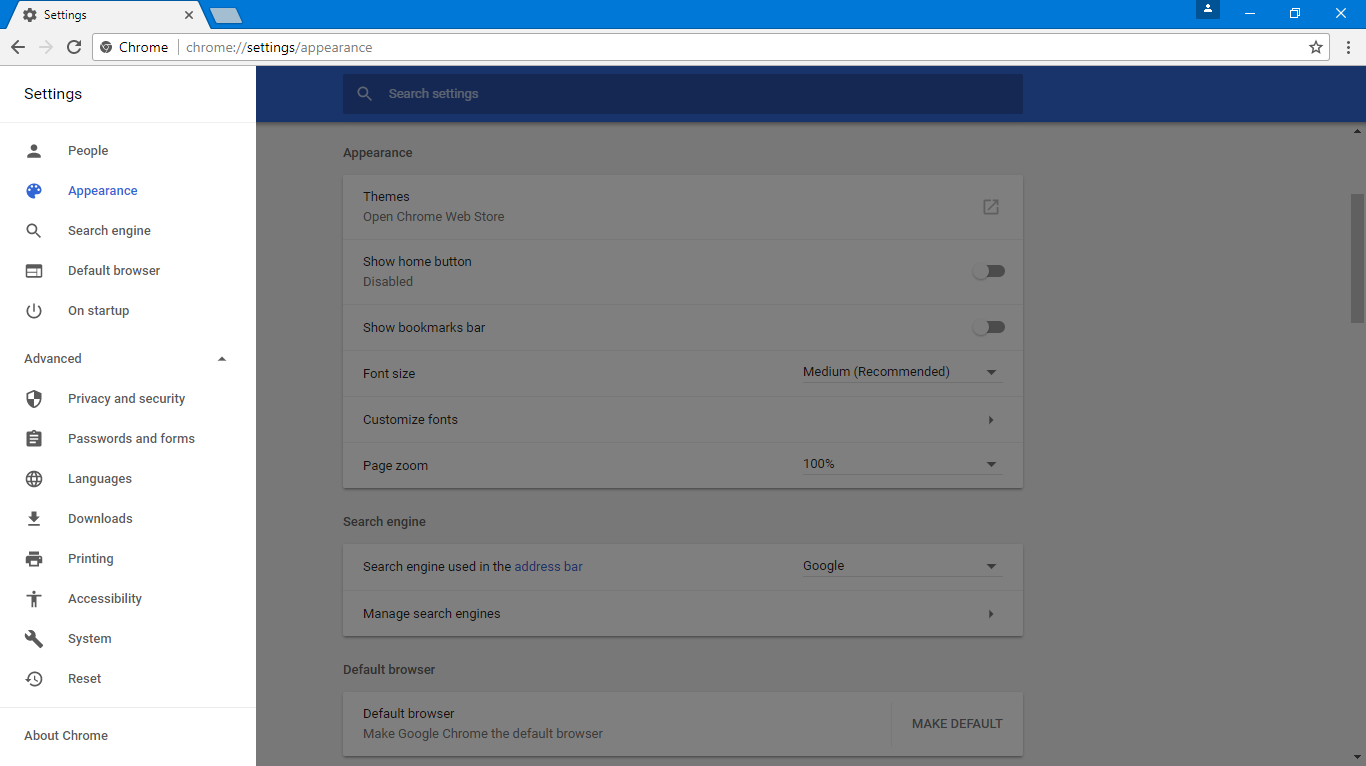 google chrome 59 released with a material design ui in the settings