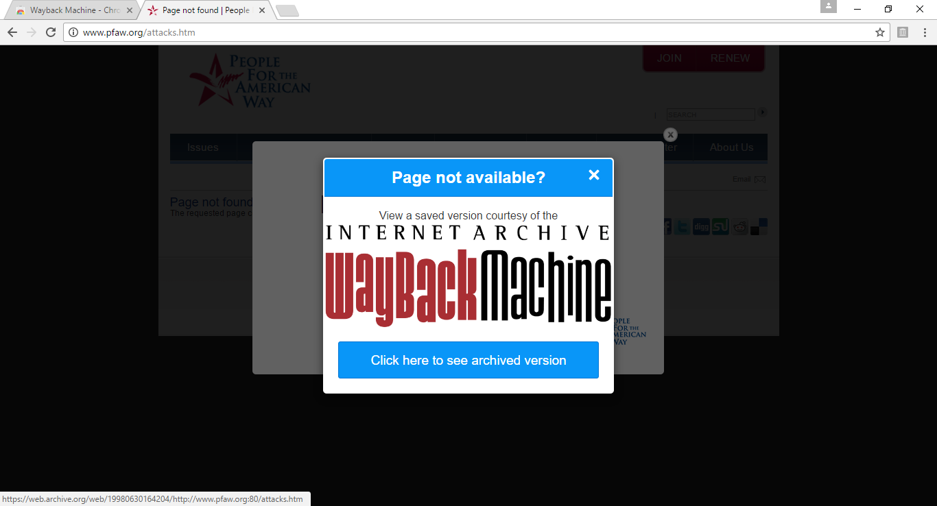 Internet Archive Launches Chrome Extension That Replaces 404 Pages