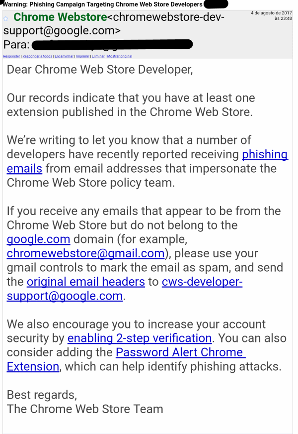 Chrome Extension Developers Under a Barrage of Phishing Attacks