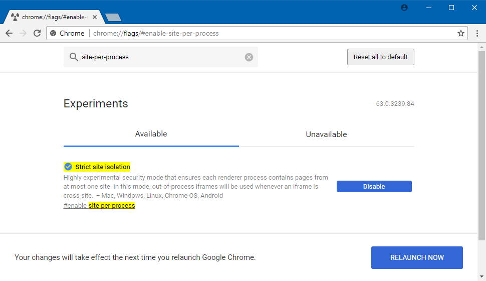 Enabling site isolation feature via Chrome flags