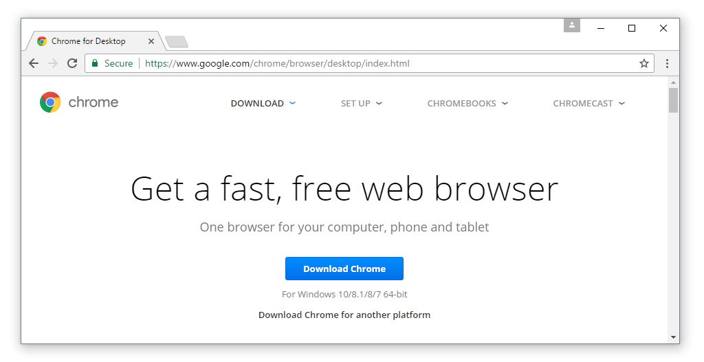 google chrome setup for windows 10 free download