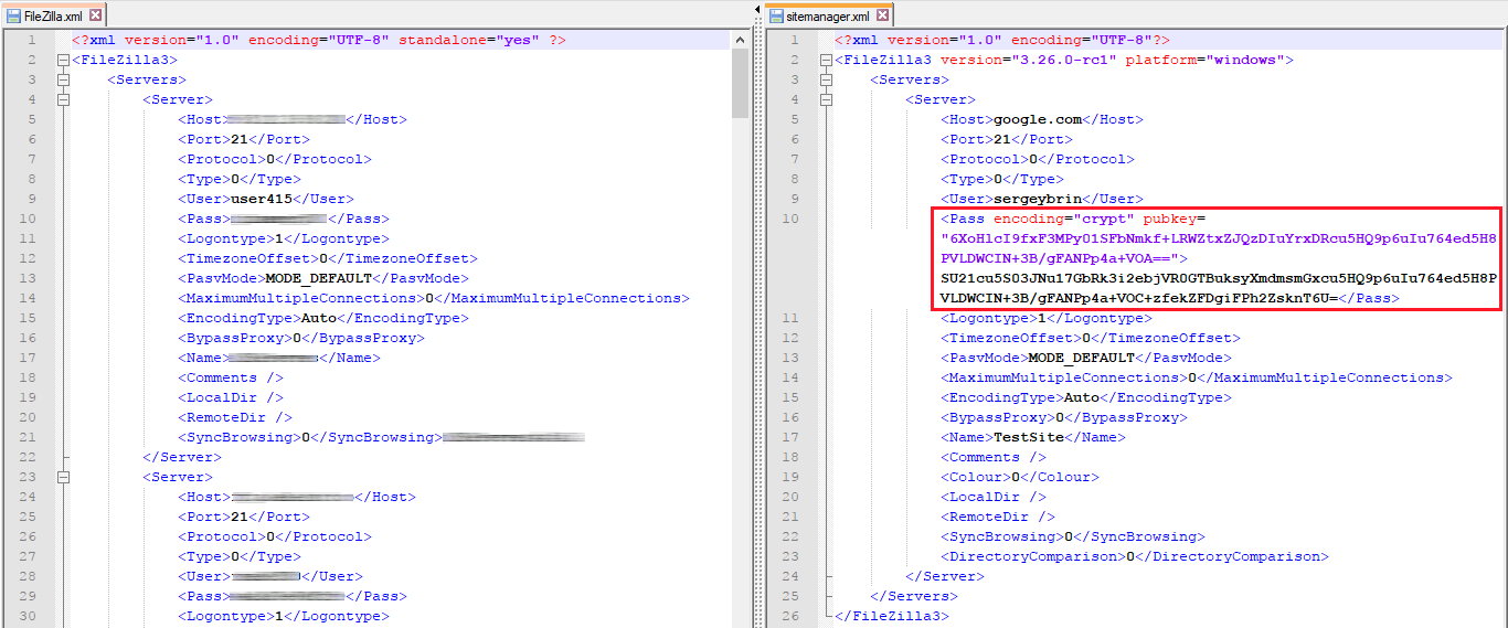 Current sitemanager.xml file on the left, encrypted sitemanager.xml on the right