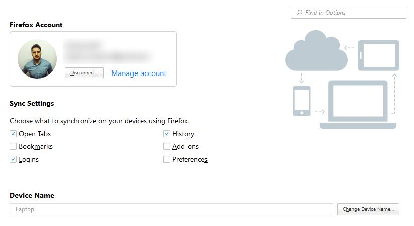 Firefox Sync settings