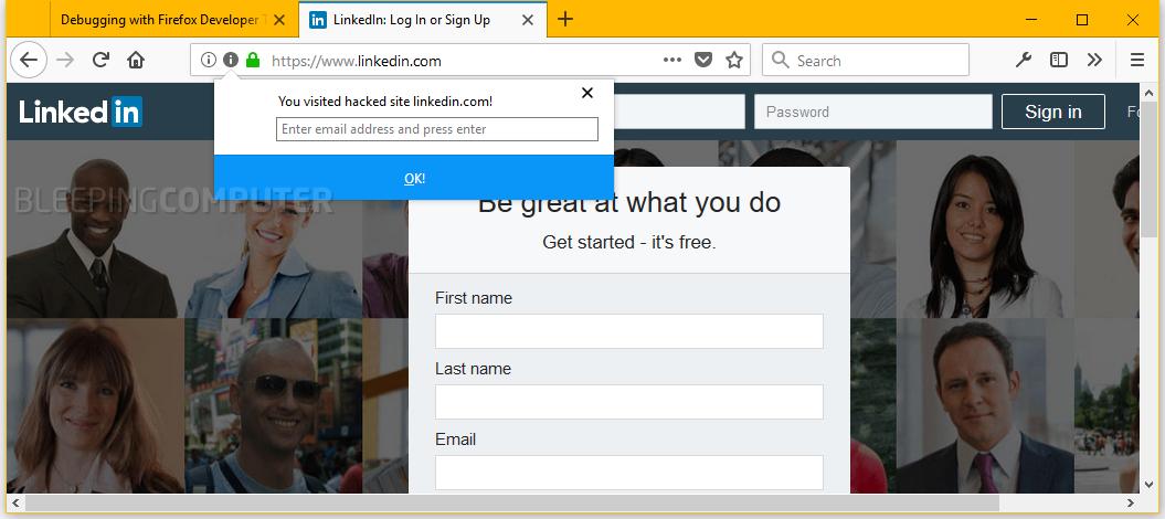 Breach Alerts Firefox add-on warning on LinkedIn