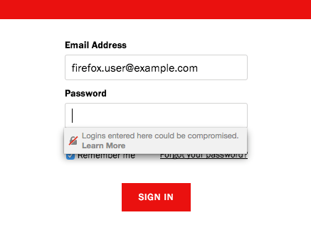 Insecure login warning