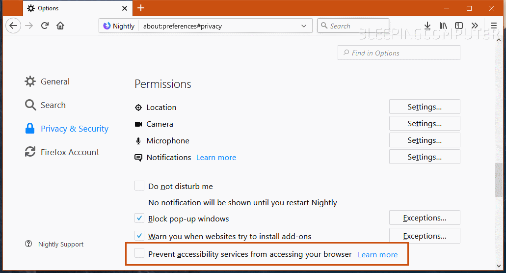 New Firefox a11y option in settings panel