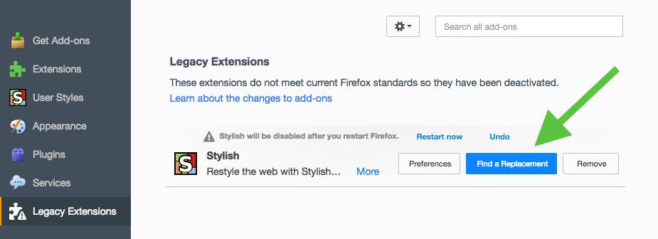 Firefox 57 add-ons migration process