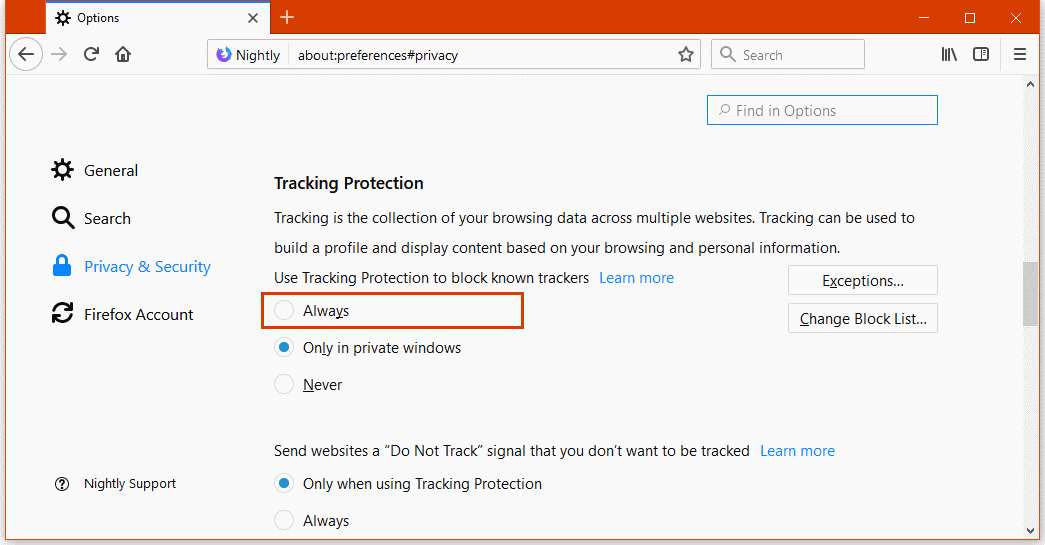 New Tracking Protection features