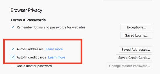 Firefox 58 credit card autofill option