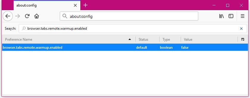 Firefox Tab Warming setting