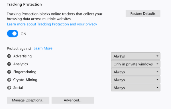 New Tracking Protection settings