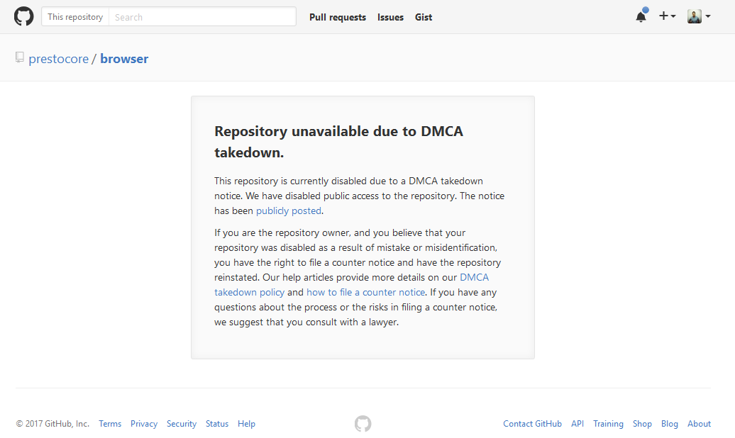 Opera source code taken down via DMCA request