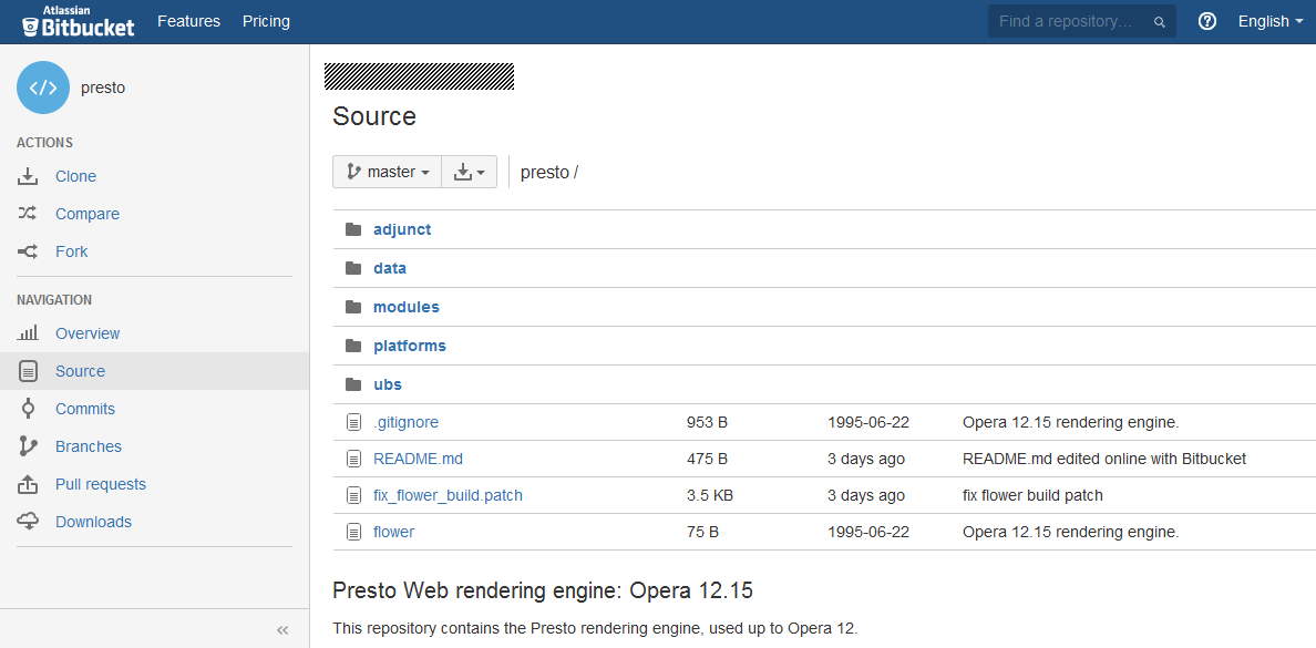 Opera source code on Bitbucket