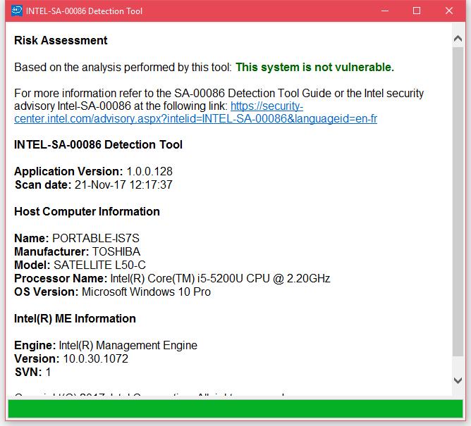 Intel Detection Tool