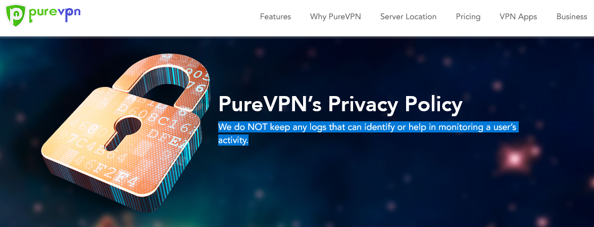 PureVPN privacy policy page