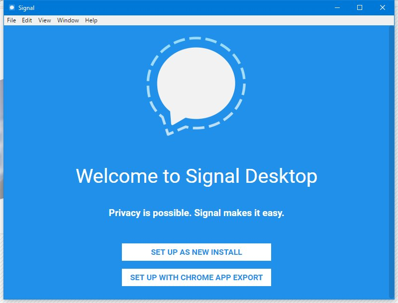 Signal Desktop setup screen