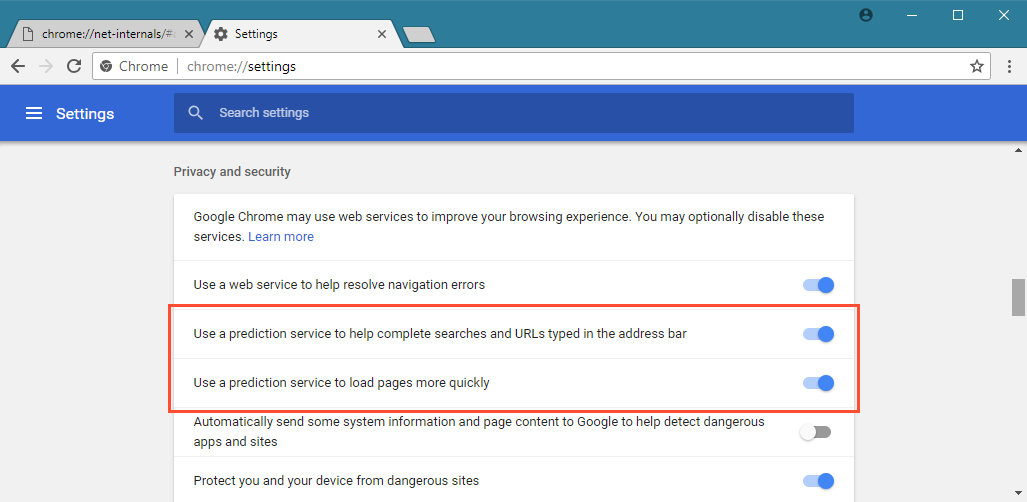 Google Chrome DNS prefetching settings