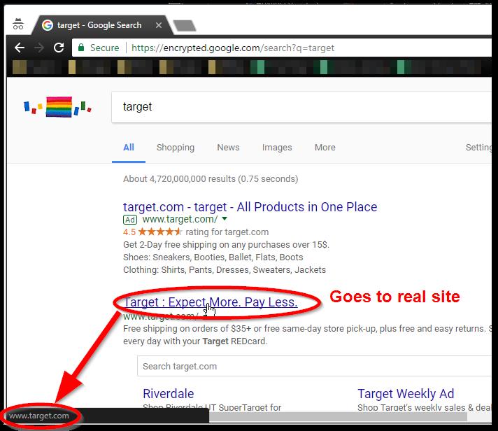 Legitimate search result