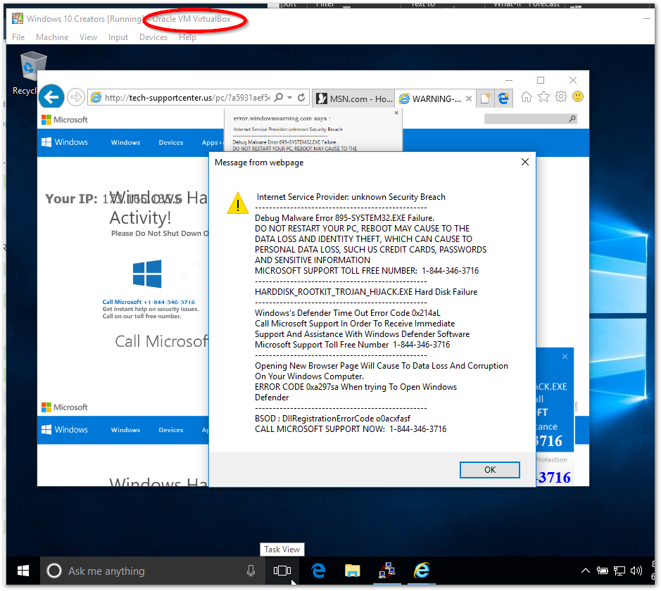 Tech support scam in IE