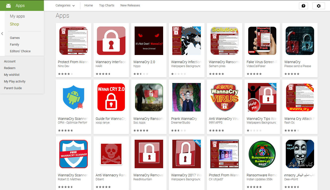 WannaCry-themed apps on the Play Store